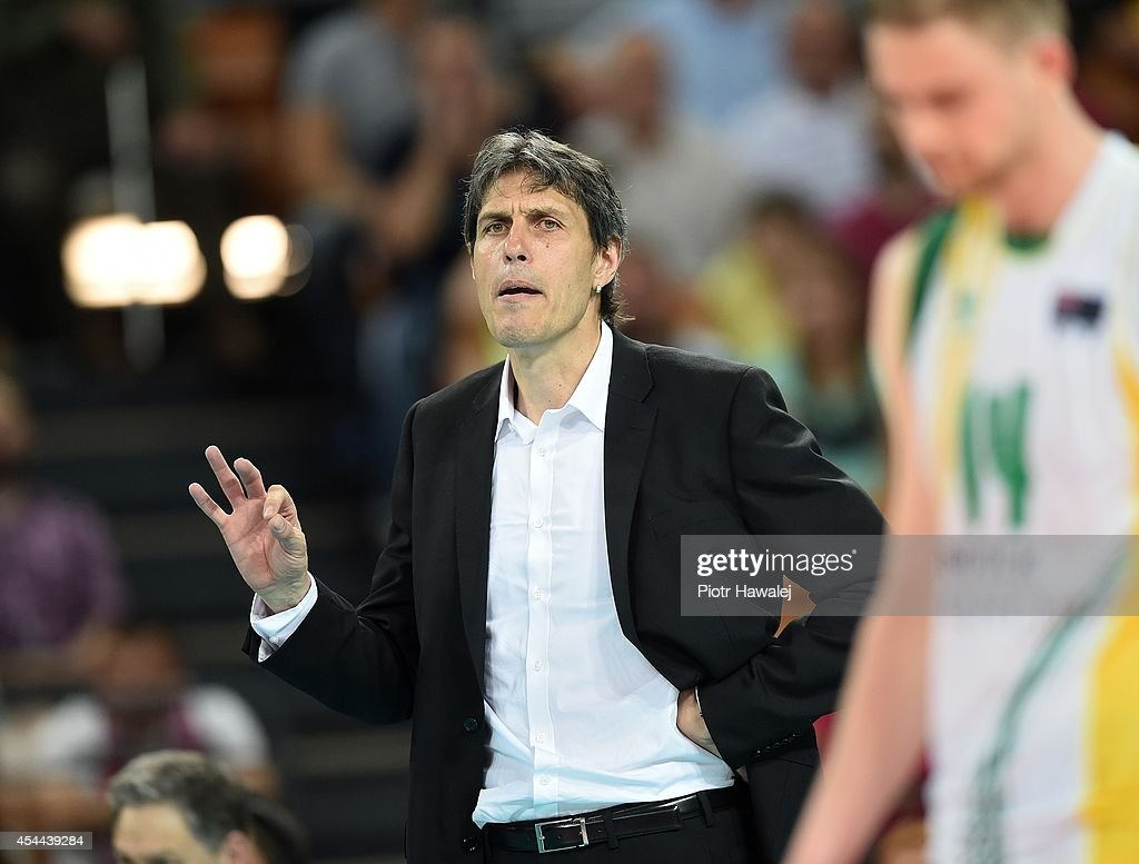 Jon Emili Uriarte coach of Australia reacts during the FIVB World Championships match between Cameroon and Australia on August 31, 2014 in Wroclaw, Poland.