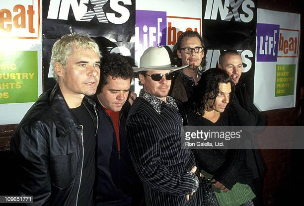 Jon Farriss Andrew Farriss Tim Farriss Michael Hutchence Kirk Pengilly and Garry Beers of INXS