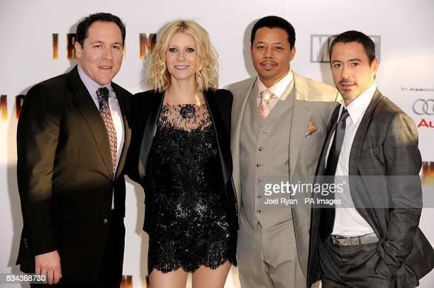 Jon Favreau Gwyneth Paltrow Terrence Howard and Robert Downey Jr arrives for at the UK charity premiere of Iron Man at the Odeon West End Cinema...