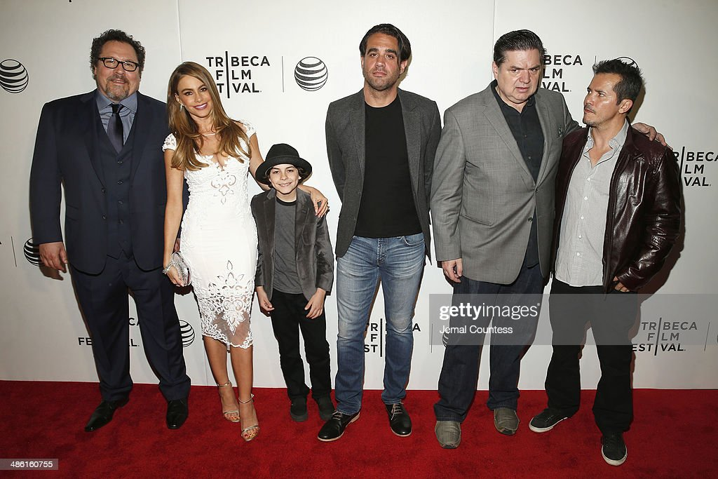<a gi-track='captionPersonalityLinkClicked' href=/galleries/search?phrase=Jon+Favreau&family=editorial&specificpeople=239483 ng-click='$event.stopPropagation()'>Jon Favreau</a>, <a gi-track='captionPersonalityLinkClicked' href=/galleries/search?phrase=Sofia+Vergara&family=editorial&specificpeople=214702 ng-click='$event.stopPropagation()'>Sofia Vergara</a>, Emjay Anthony, <a gi-track='captionPersonalityLinkClicked' href=/galleries/search?phrase=Oliver+Platt&family=editorial&specificpeople=227248 ng-click='$event.stopPropagation()'>Oliver Platt</a> and <a gi-track='captionPersonalityLinkClicked' href=/galleries/search?phrase=John+Leguizamo&family=editorial&specificpeople=167163 ng-click='$event.stopPropagation()'>John Leguizamo</a> attend the 'Chef' Premiere during the 2014 Tribeca Film Festival at BMCC Tribeca PAC on April 22, 2014 in New York City.
