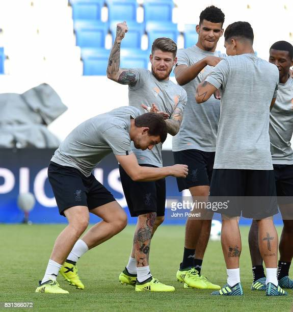 Jon Flanagan and Alberto Moreno of Liverpool during a training session at Wirsol RheinNeckarArena on August 14 2017 in Sinsheim Germany