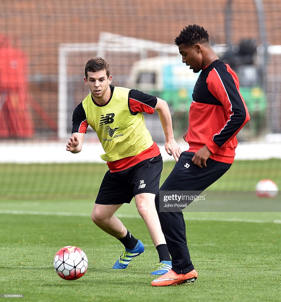Jon Flanagan and Jordan Ibe of Liverpool during a training session at Melwood Training Ground on May 6, 2016 in Liverpool, England.