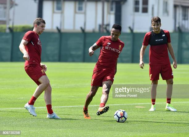 Jon Flanagan and Nathaniel Clyne of Liverpool during a training session at Melwood Training Ground on July 6 2017 in Liverpool England