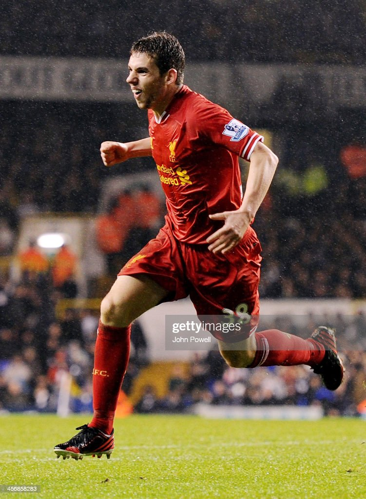 <a gi-track='captionPersonalityLinkClicked' href=/galleries/search?phrase=Jon+Flanagan+-+Soccer+Player+-+Born+1993&family=editorial&specificpeople=8957850 ng-click='$event.stopPropagation()'>Jon Flanagan</a> of Liverpool celebrates after scoring the third during the Barclays Premier Leauge match between Tottenham Hotspur and Liverpool at White Hart Lane on December 15, 2013 in London, England.
