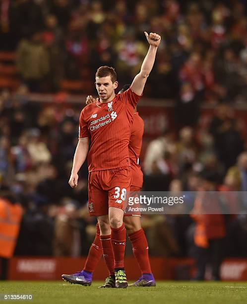 Jon Flanagan of Liverpool celebrates at the end of the Barclays Premier League match between Liverpool and Manchester City at Anfield on March 2 2016...