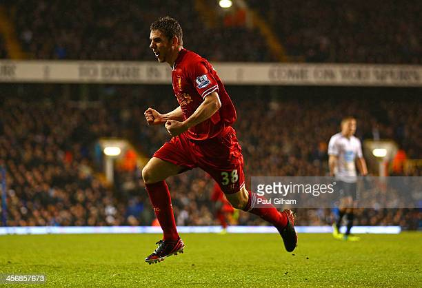 Jon Flanagan of Liverpool celebrates scoring their third goal during the Barclays Premier League match between Tottenham Hotspur and Liverpool at...