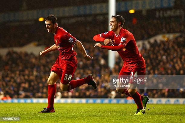 Jon Flanagan of Liverpool celebrates scoring their third goal with Joe Allen of Liverpool during the Barclays Premier League match between Tottenham...
