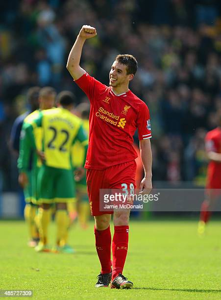 Jon Flanagan of Liverpool celebrates victory at the final whistle during the Barclays Premier League match between Norwich City and Liverpool at...