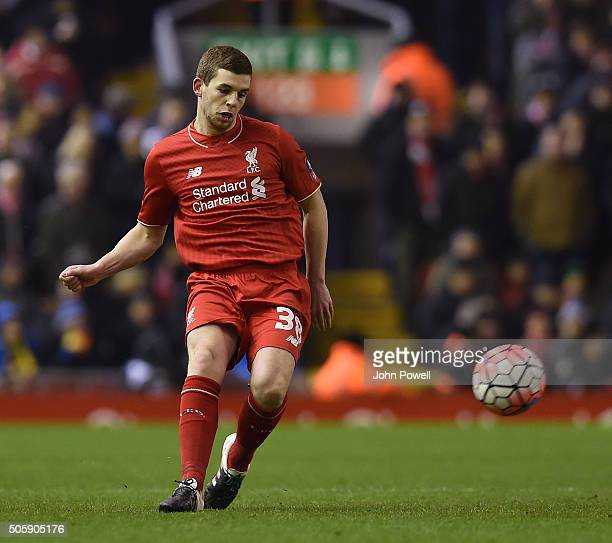 Jon Flanagan of Liverpool during The Emirates FA Cup Third Round Replay between Liverpool and Exeter City at Anfield on January 20 2016 in Liverpool...