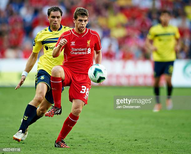 Jon Flanagan of Liverpool FC controls the ball during the PreSeason Friendly match between Brondby IF and Liverpool FC at Brondby stadium on July 16...