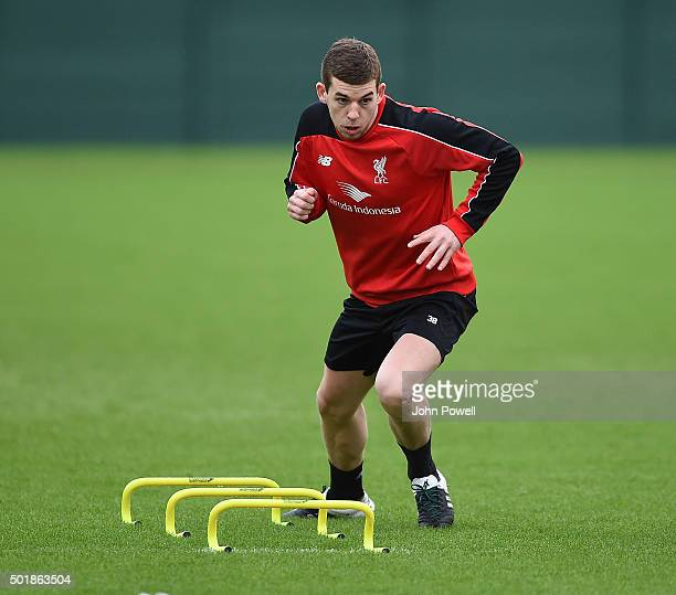 Jon Flanagan of Liverpool in action during a training session at Melwood Training Ground on December 18 2015 in Liverpool England
