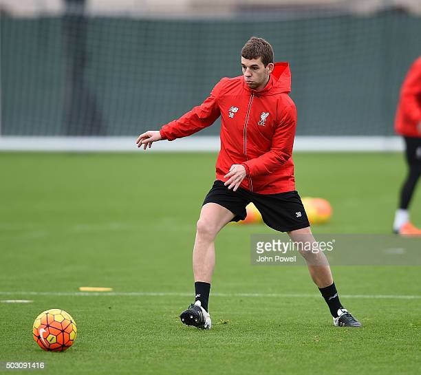 Jon Flanagan of Liverpool in action during a training session at Melwood Training Ground on January 1 2016 in Liverpool England