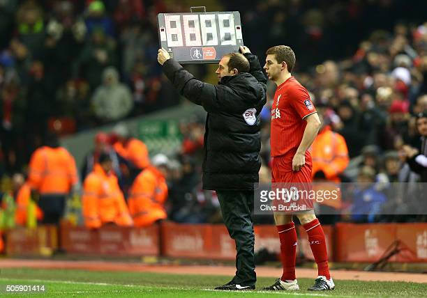 Jon Flanagan of Liverpool prepares to be substituted on during The Emirates FA Cup Third Round Replay match between Liverpool and Exeter City at...