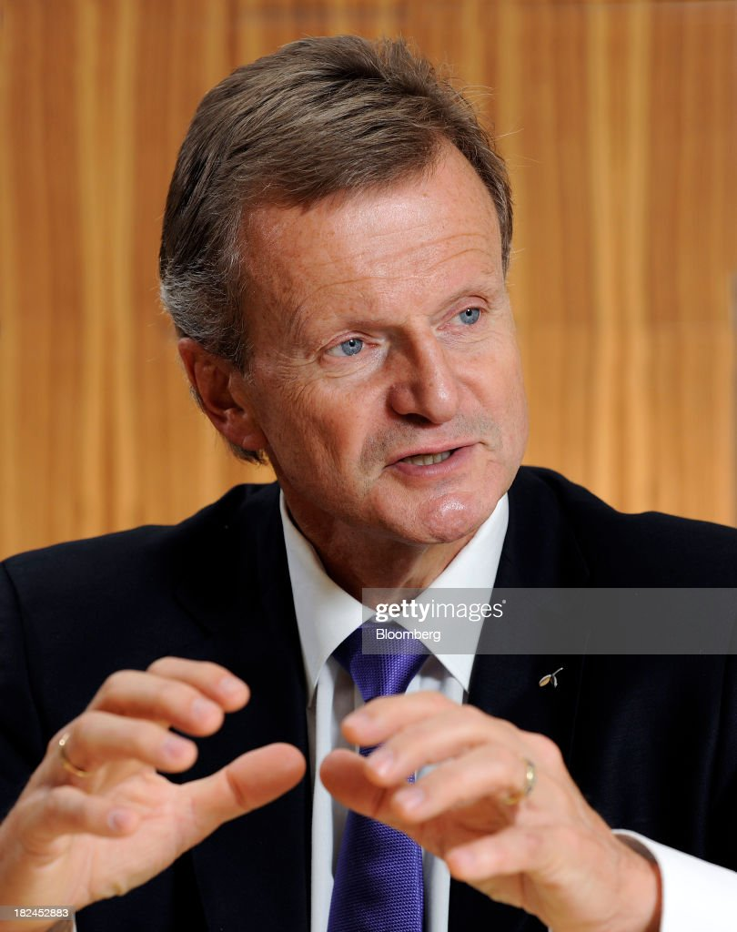 Jon Fredrik Baksaas, chief executive officer of Telenor ASA, gestures as he speaks during an interview in Singapore, on Saturday, Sept. 28, 2013. Baksaas said mobile-phone subscriptions in Myanmar, a new market for the wireless carrier, will surge more than fivefold to about half of the population by the end of 2017. Photographer: Munshi Ahmed/Bloomberg via Getty Images