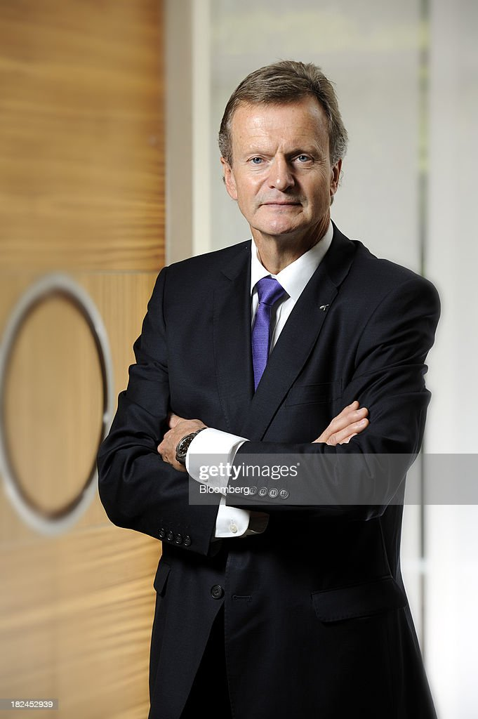 Jon Fredrik Baksaas, chief executive officer of Telenor ASA, poses for a photograph in Singapore, on Saturday, Sept. 28, 2013. Baksaas said mobile-phone subscriptions in Myanmar, a new market for the wireless carrier, will surge more than fivefold to about half of the population by the end of 2017. Photographer: Munshi Ahmed/Bloomberg via Getty Images