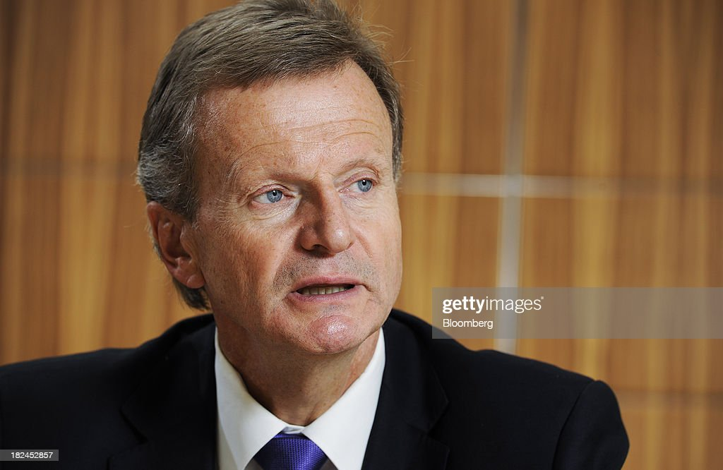 Jon Fredrik Baksaas, chief executive officer of Telenor ASA, speaks during an interview in Singapore, on Saturday, Sept. 28, 2013. Baksaas said mobile-phone subscriptions in Myanmar, a new market for the wireless carrier, will surge more than fivefold to about half of the population by the end of 2017. Photographer: Munshi Ahmed/Bloomberg via Getty Images