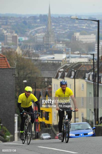 Jon Furniss left with Olympic champion and TV presenter James Cracknell as they cycle up St Michaels Hill in Bristol on their way to visit St...