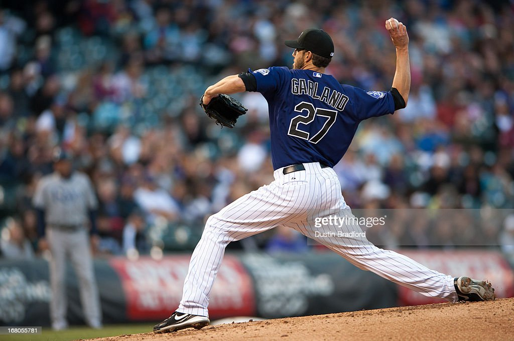 <a gi-track='captionPersonalityLinkClicked' href=/galleries/search?phrase=Jon+Garland&family=editorial&specificpeople=209155 ng-click='$event.stopPropagation()'>Jon Garland</a> #27 of the Colorado Rockies pitches against the Tampa Bay Rays during a game at Coors Field on May 4, 2013 in Denver, Colorado. The Rockies led the Rays 1-0 after one inning.