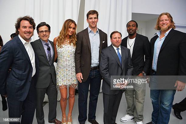 Jon Geiselman Paul Guyardo Hannah Davis Eli Manning Keith Kazerman Hakeem Nicks and Nick Mangold attend DIRECTV's 2013 National Ad Sales Upfront on...