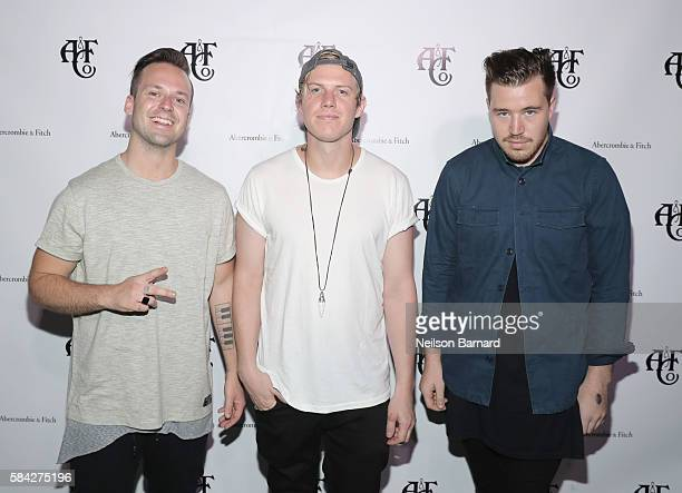 Jon George Tyrone Lindqvist and James Hunt of the band RUFUS DU SOL attend Abercrombie Fitch Summer Rooftop Party at Gallow Green Rooftop on July 28...