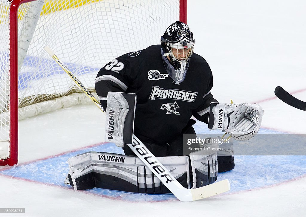 Jon Gillies #32 of the Providence College Friars tends goal during the NCAA Division I Men's Ice Hockey East Regional Championship Semifinal against the Quinnipiac University Bobcats at Webster Bank Arena on March 28, 2014 in Bridgeport, Connecticut.