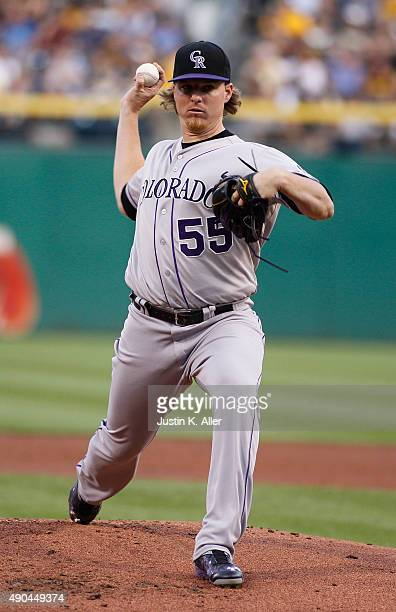 Jon Gray of the Colorado Rockies in action during the game against the Pittsburgh Pirates at PNC Park on August 28 2015 in Pittsburgh Pennsylvania