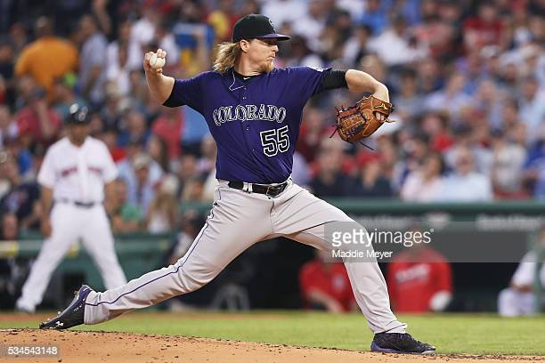 Jon Gray of the Colorado Rockies pitches against the Boston Red Sox during the fourth inning at Fenway Park on May 26 2016 in Boston Massachusetts
