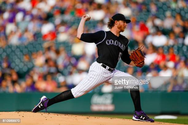 Jon Gray of the Colorado Rockies pitches against the Cincinnati Reds at Coors Field on July 5 2017 in Denver Colorado