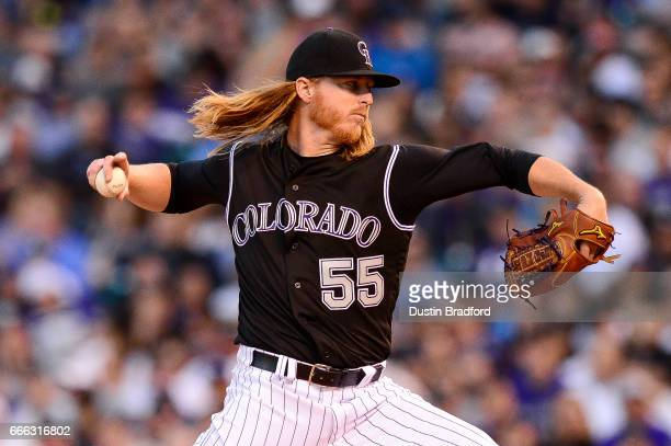 Jon Gray of the Colorado Rockies pitches against the Los Angeles Dodgers in the third inning of a game at Coors Field on April 8 2017 in Denver...