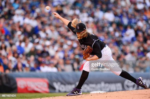 Jon Gray of the Colorado Rockies pitches against the Los Angeles Dodgers in the second inning of a game at Coors Field on April 8 2017 in Denver...