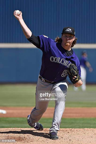 Jon Gray of the Colorado Rockies pitches against the Milwaukee Brewers on March 12 2016 in Phoenix Arizona