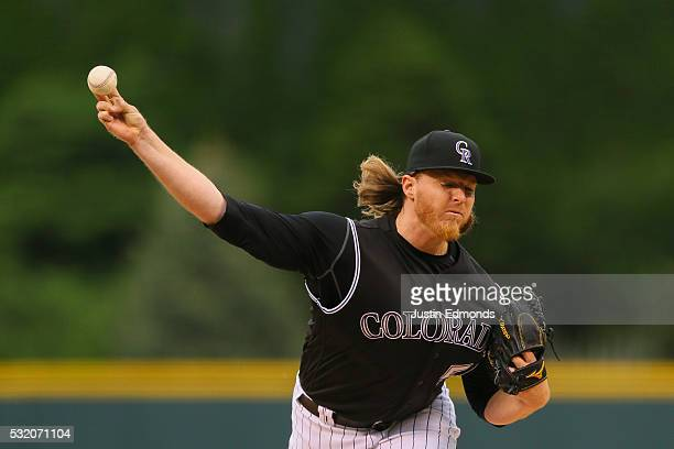 Jon Gray of the Colorado Rockies pitches against the New York Mets at Coors Field on May 13 2016 in Denver Colorado