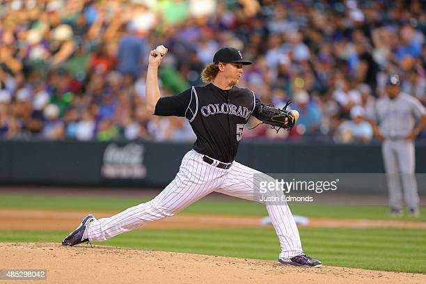 Jon Gray of the Colorado Rockies pitches against the San Diego Padres at Coors Field on August 15 2015 in Denver Colorado