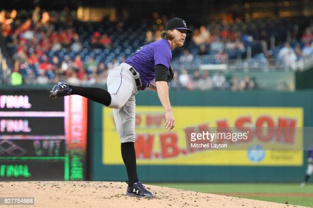 Jon Gray of the Colorado Rockies pitches during game two of a doubleheader baseball game against the Washington Nationals at Nationals Park on July...