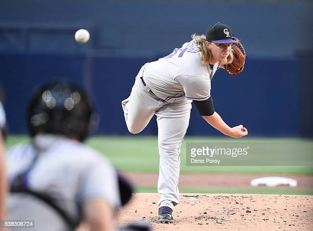 Jon Gray of the Colorado Rockies pitches during the first inning of a baseball game against the San Diego Padres at PETCO Park on June 5 2016 in San...