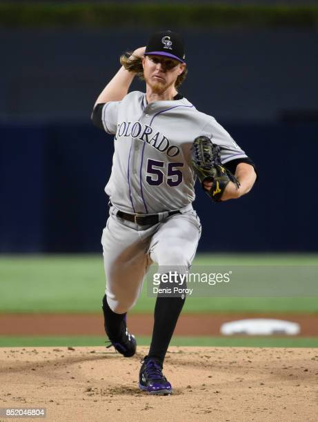 Jon Gray of the Colorado Rockies pitches during the first inning of a baseball game against the San Diego Padres at PETCO Park on September 22 2017...