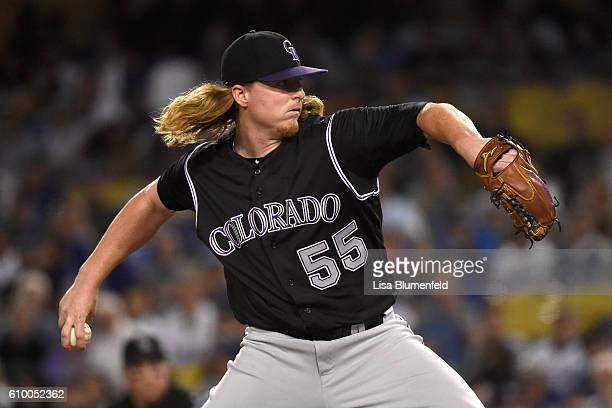 Jon Gray of the Colorado Rockies pitches in the first inning against the Los Angeles Dodgers at Dodger Stadium on September 23 2016 in Los Angeles...