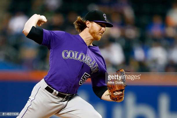 Jon Gray of the Colorado Rockies pitches in the first inning against the New York Mets at Citi Field on July 14 2017 in the Flushing neighborhood of...