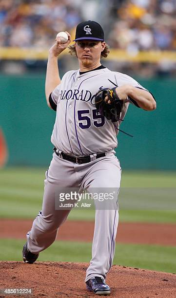 Jon Gray of the Colorado Rockies pitches in the first inning during the game against the Pittsburgh Pirates at PNC Park on August 28 2015 in...