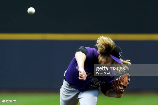 Jon Gray of the Colorado Rockies pitches in the fourth inning against the Milwaukee Brewers of the MLB Opening Day game at Miller Park on April 3...