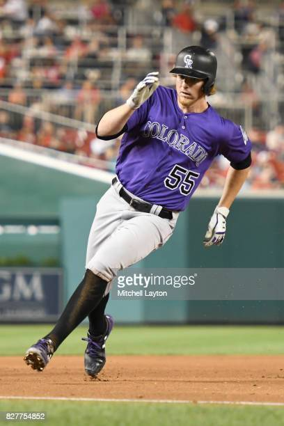 Jon Gray of the Colorado Rockies runs to third base during game two of a doubleheader baseball game against the Washington Nationals at Nationals...