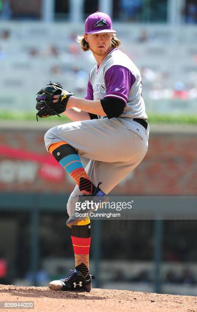 Jon Gray of the Colorado Rockies throws a fifth inning pitch against the Atlanta Braves at SunTrust Park on August 27 2017 in Atlanta Georgia