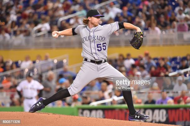 Jon Gray of the Colorado Rockies throws a pitch during the second inning against the Miami Marlins at Marlins Park on August 11 2017 in Miami Florida