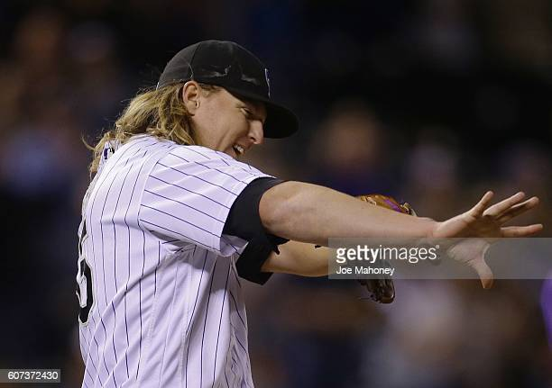 Jon Gray of the Colorado Rockies waves at the end of his complete game shutout against the San Diego Padres at Coors Field on September 17 2016 in...
