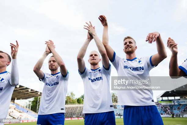 Jon Gudni Fjoluson Kalle Holmberg and Sebastian Andersson of IFK Norrkoping celebrates after the victory during the Allsvenskan match between IFK...