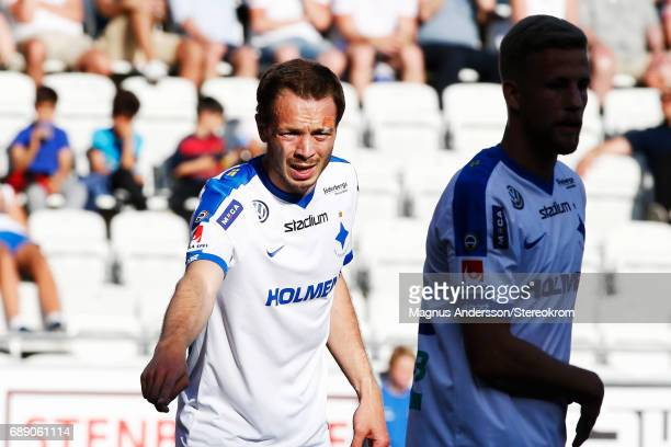 Jon Gudni Fjoluson of IFK Norrkoping during the Allsvenskan match between IFK Norrkoping and Halmstad BK at Ostgotaporten on May 27 2017 in...