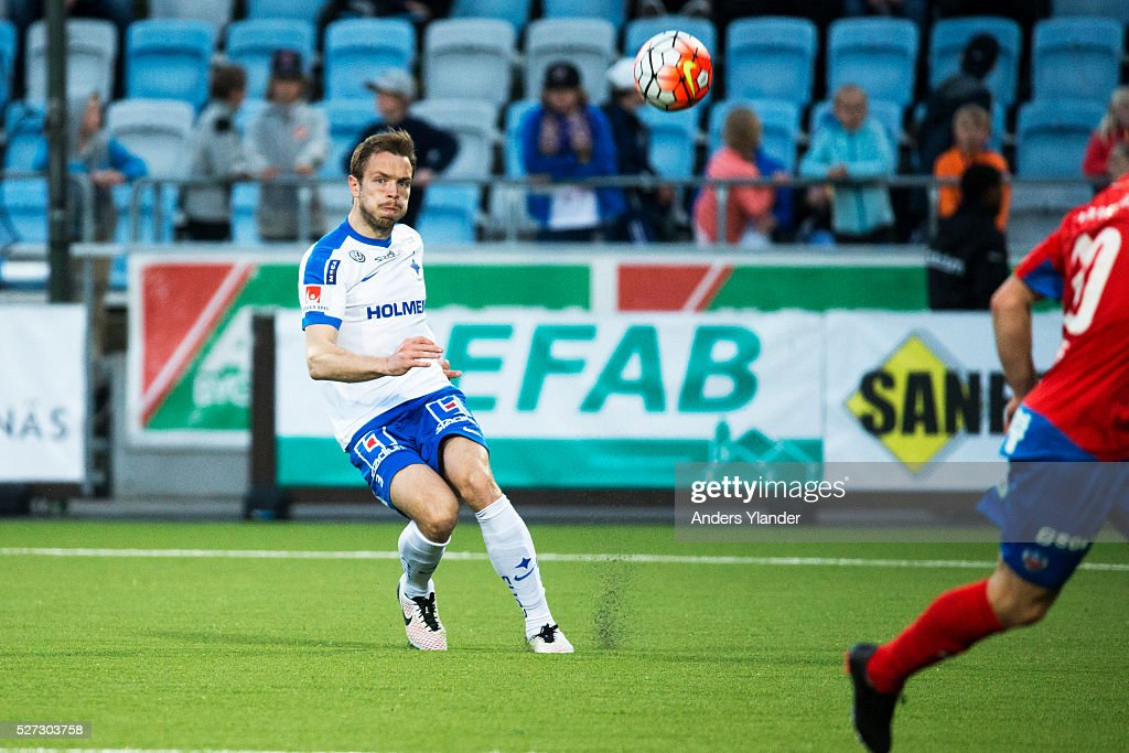 Jon Gudni Fjoluson of IFK Norrkoping in action during the Allsvenskan match between IFK Norrkoping and Helsingborgs IF at Ostgotaporten on May 2, 2016 in Norrkoping, Sweden.