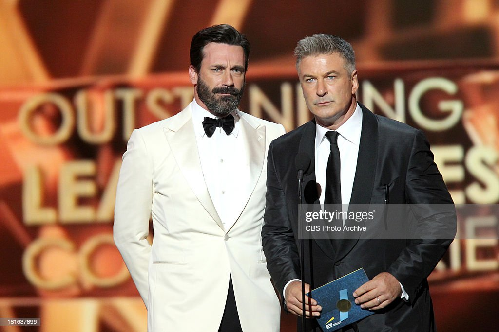 <a gi-track='captionPersonalityLinkClicked' href=/galleries/search?phrase=Jon+Hamm&family=editorial&specificpeople=3027367 ng-click='$event.stopPropagation()'>Jon Hamm</a> and <a gi-track='captionPersonalityLinkClicked' href=/galleries/search?phrase=Alec+Baldwin&family=editorial&specificpeople=202864 ng-click='$event.stopPropagation()'>Alec Baldwin</a> during the 65th Primetime Emmy Awards which will be broadcast live across the country 8:00-11:00 PM ET/ 5:00-8:00 PM PT from NOKIA Theater L.A. LIVE in Los Angeles, Calif., on Sunday, Sept. 22 on the CBS Television Network.
