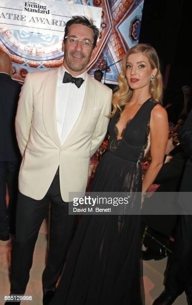 Jon Hamm and Annabelle Wallis attend the London Evening Standard Theatre Awards 2017 at the Theatre Royal Drury Lane on December 3 2017 in London...
