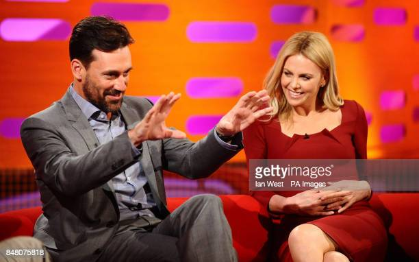 Jon Hamm and Charlize Theron appear on the Graham Norton show at the London Studios in London